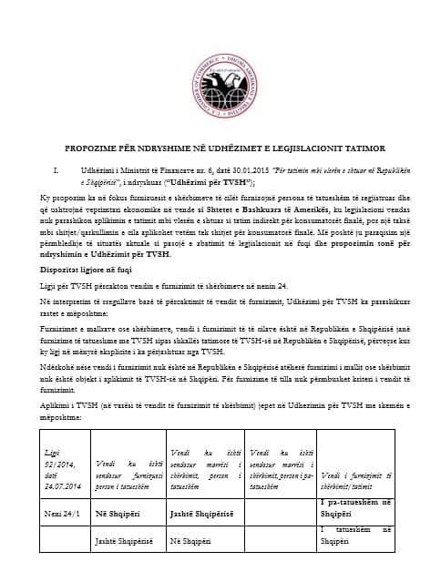 Propozime për ndryshime në udhëzimet e legjislacionit tatimor
